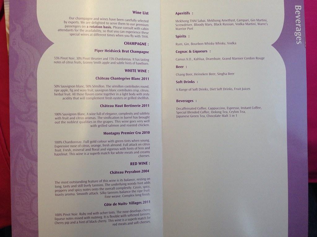 Thai Airways Beverage List