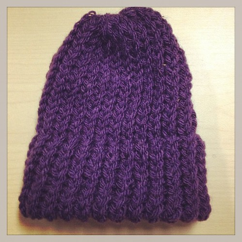 First attempt knitting a hat using a round loom my mom  gave me. by ChunTaiLi