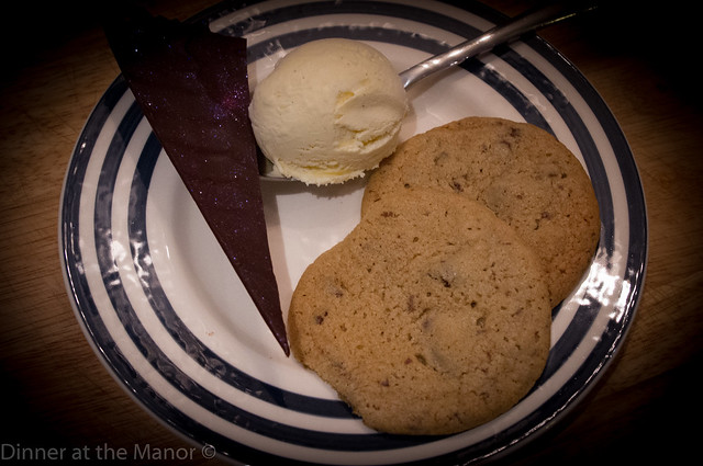 Dinner at the Manor warm cookies and ice cream