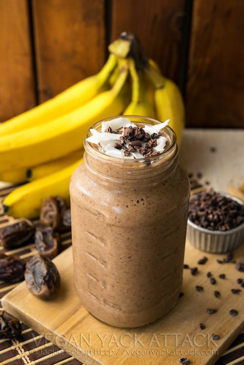 A delicious, naturally-sweetenend, and healthy banana cacao recovery smoothie for helping you post-workout or after a rough night out.
