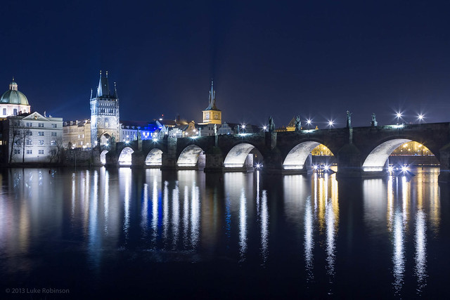 Night View of the Charles Bridge from Mala Strana