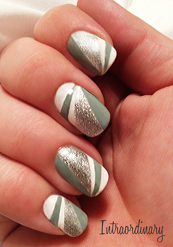 white, mint and silver glitter nails by intraordinary
