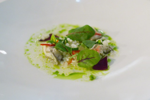 oysters poached in their shells, asian pear, horseradish, sorrel, fingerlime