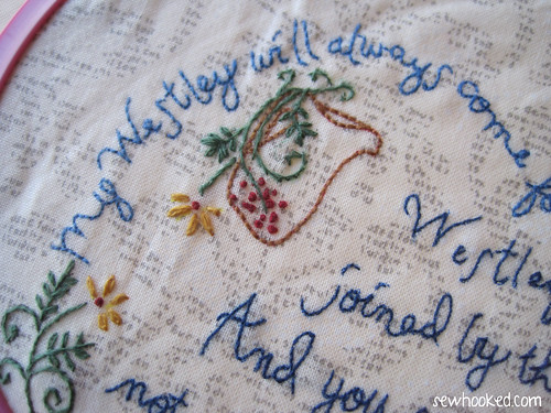 Buttercup embroidery peek
