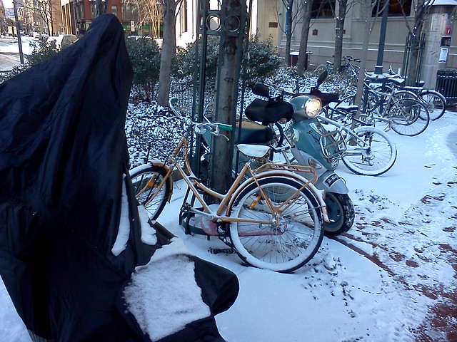 Buddy scooter still safely parked at the RISD library after jury duty ... wonder what bike is under that cover?