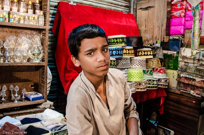 cap seller at ramazan night market charminar