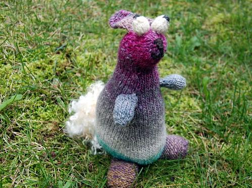Knit rabbit soft sculpture mohair tail