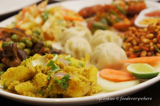 3.Tasting Snack Platter RM 24- chicken chilli, Bhuteko Bhatmas, Nepali salad, Mushroom peas, Aloo Silam and momo (10)
