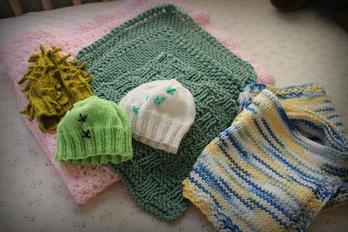 20140112. Hand knitted gifts from the Indy Pub Knitters.