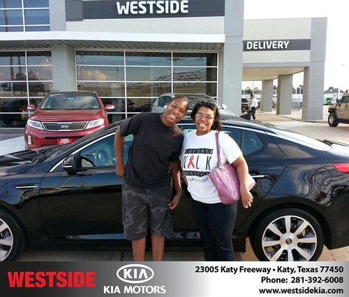 Thank you to Tisha Sparrow on your new 2013 #Kia #Optima from Rubel Chowdhury and everyone at Westside Kia! #NewCarSmell by Westside KIA