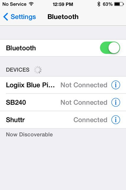 iPhone Bluetooth Connection Screen