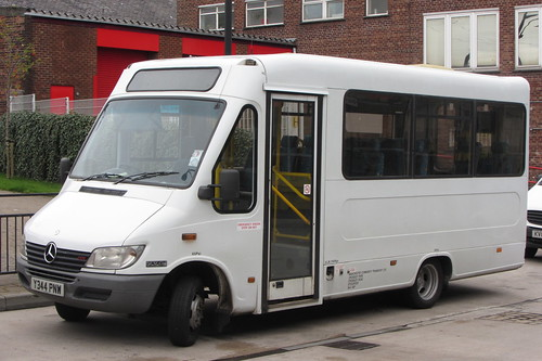 Mercedes CDI minibus Y344 PNW, Manchester Community Transport, Oldham bus station