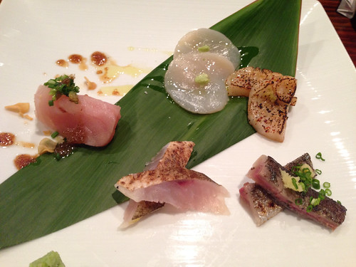 Fresh Albacore w/ Garlic Ponzu, Hokkaido Scallop 2 Ways (Carpaccio, Soy-Marinated & Seared), Seared Sanma, Smoked Kamasu no Kobujime
