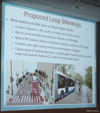 Mike Amsden describes bikeway component of the Central Loop BRT project