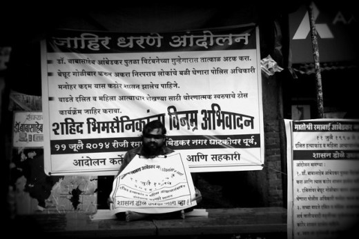 Milind Pagare, one of the victims of the massacre, fasting to seek justice on 11th July 2014