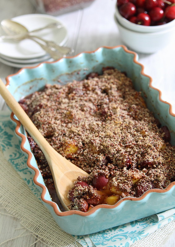 Peach and Cherry Quinoa Crumble | runningtothekitchen.com
