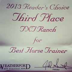 Nice surprise came in the mail today!! Readers choice award for us!! #weatherford #texas #horses #horsetrainer #award #tntranch #tnthorses #colttrainer #tomandtracidavis