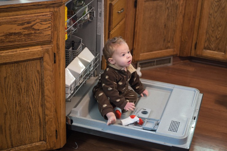 Micah in the Dishwasher