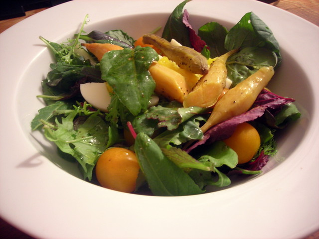 "Baby mesclun salad, with roasted sweet potato ""fingers"", Sungold tomatoes and hard-cooked farm egg"