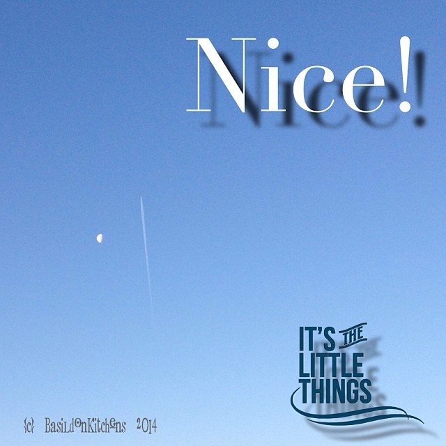 22/1/2014 - nice! {what's nicer than a gorgeous blue sky; the moon & jet trails?} ...even though it was -32C when I took this shot. May your spirits & creativity soar! #fmsphotoaday #nice #bluesky #moon #jettrail #rhonnadesigns