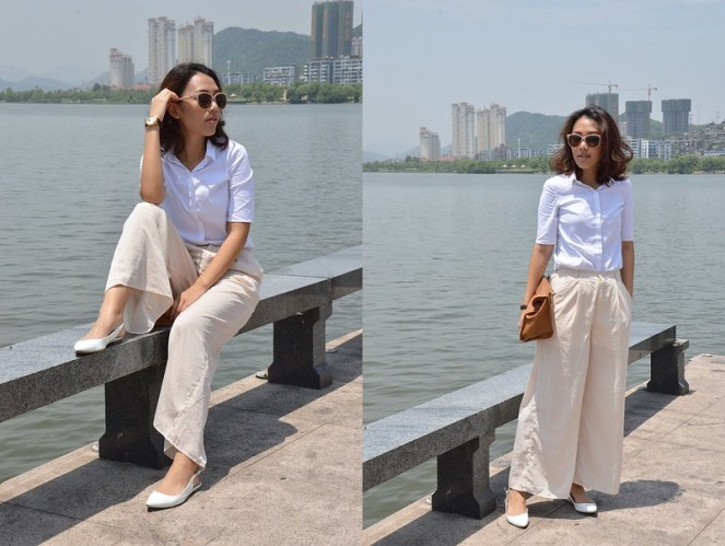 short sleeve white blouse, palazzo pants, white slingback flats, leather foldover clutch