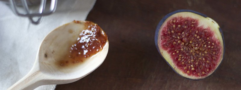 fig and handmade wooden spoon