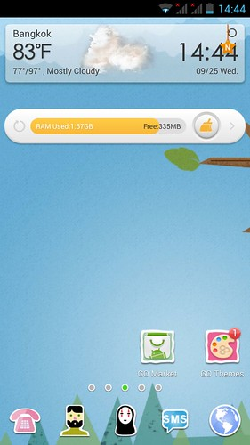 Home screen ของ mondo 5001Q หลังใช้กับ Go Launcher EX