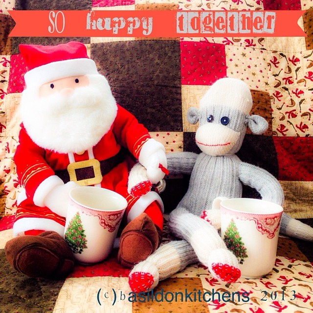 Dec 15 - friendship {Mr. sock monkey and Santa have become fast friends} #photoaday #sockmonkey #santa #coffee #mugs #friendship #fun #christmas #holidays #rhonnadesigns
