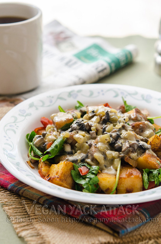 These Loaded Breakfast Potatoes are a crispy potato hash covered in a heavenly mushroom gravy!