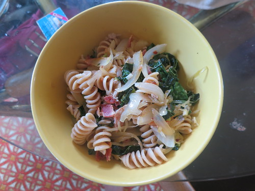Sauerkraut, kale, bratwurst and bacon pasta