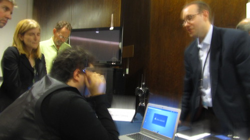 Sina Bahram and neal Stimler demonstrating Google Glass