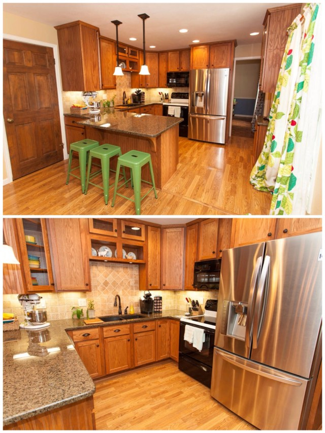 If you walk down the hall, the kitchen is in the back of the house on the left.