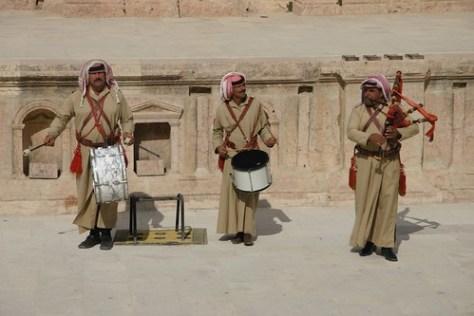 Bagpipers and drummers, Jerash, Jordan