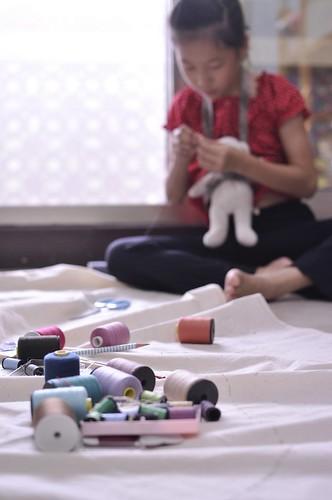 縫製兒童房的窗簾(9.2ys)