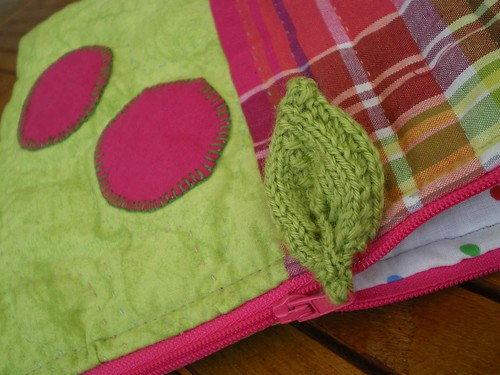 trousse rose vert patchwork feuille