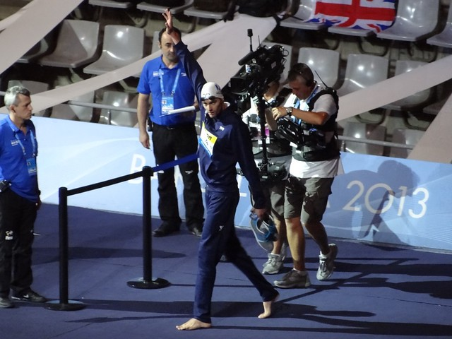 Camille Lacourt enters the BCN2013 arena
