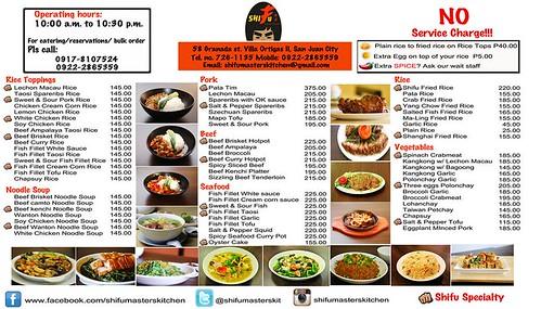Shifu Master's Kitchen Menu2