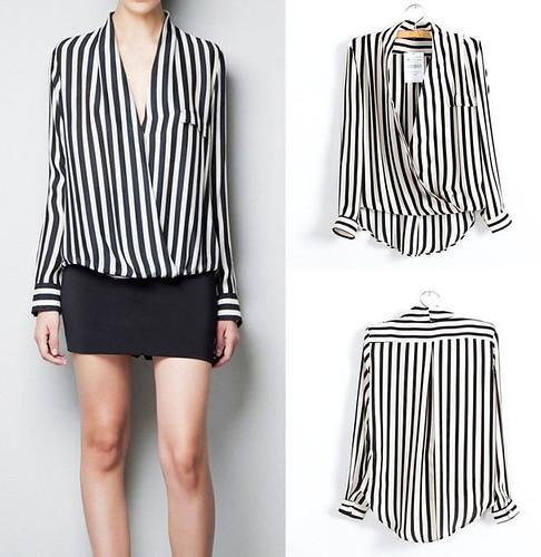 black white striped blouse