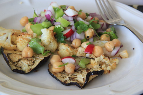 Spiced and Roasted Eggplant, cauliflower and chickpea salad