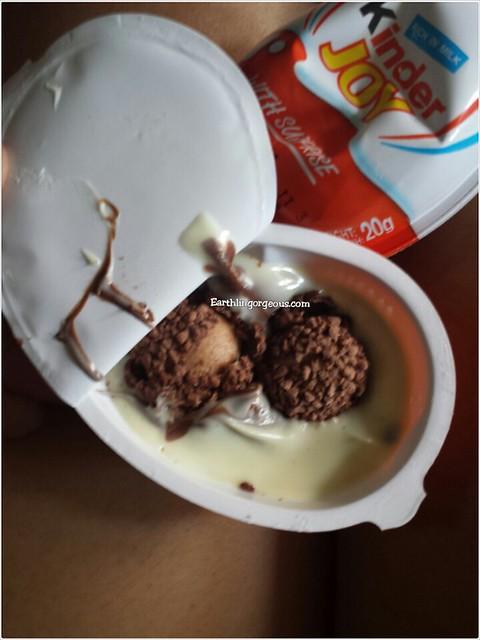 Ferrero chocolate inside a Kinder Joy