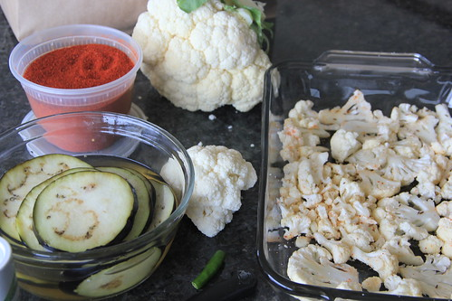 Spiced and Roasted Eggplant, cauliflower and chickpea salad