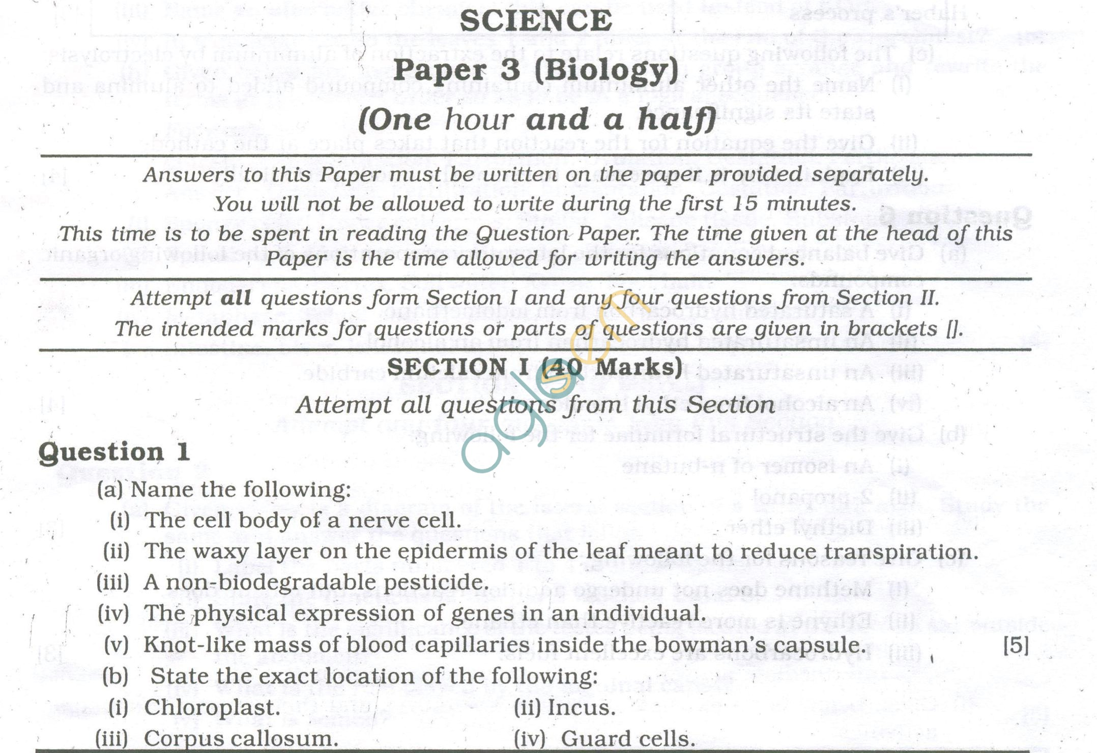Icse Question Papers For Class 10 Biology