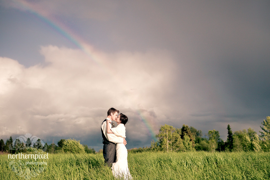 Wedding Kiss under the Rainbow - Prince George British Columbia