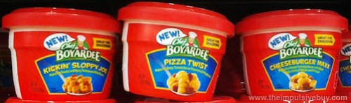 Chef Boyardee Kickin' Sloppy Joe, Pizza Twist, and Cheeseburger Maxx
