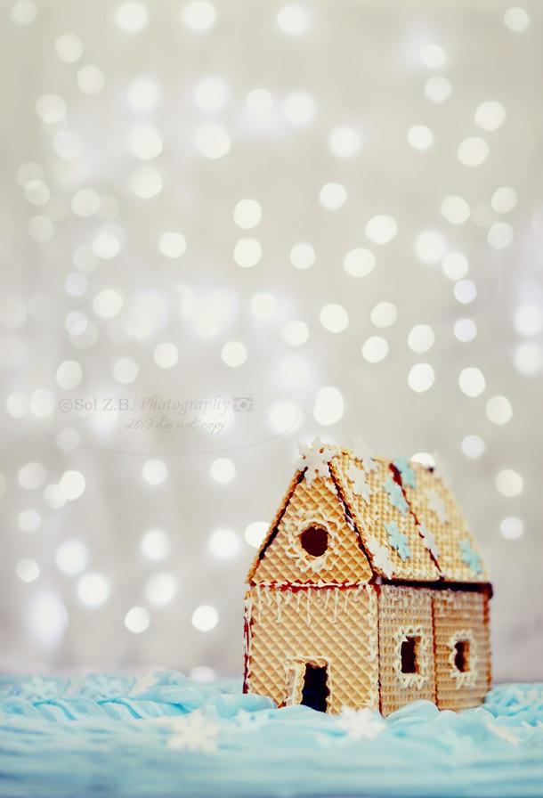 Nieve en Navidad. Casita de jengibre. Christmas