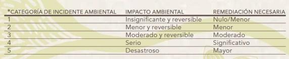 Categoría de incidente ambiental