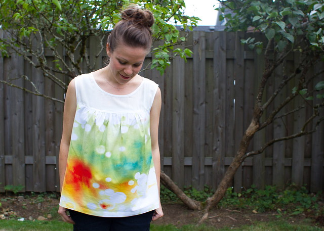 watercolor ruby top