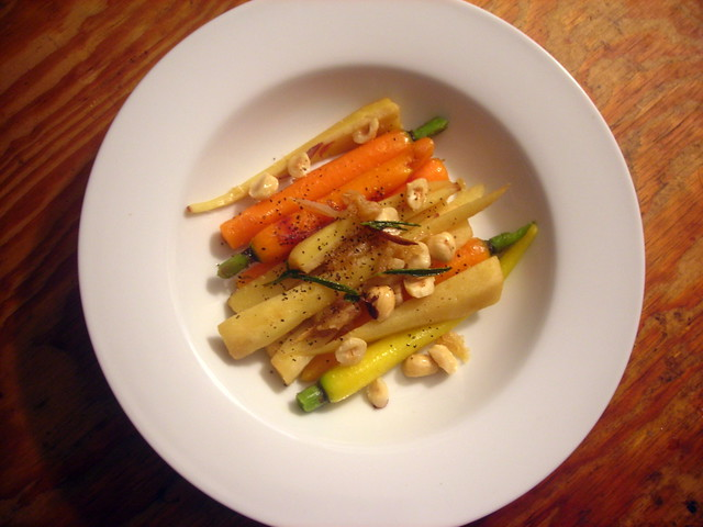 Rainbow carrots and parsnips, with hazelnuts, ginger and rosemary