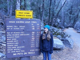 Isabel on a hike to Vernal Fall Bridge in Yosemite.