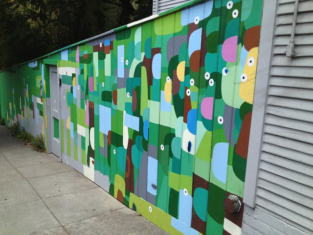 Green geometric mural